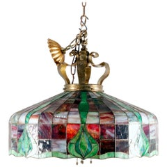 Arts & Crafts Leaded Slag & Stained Glass Mosaic Dome Chandelier, circa 1910