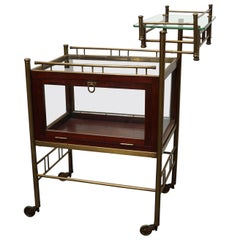 Arts & Crafts Mahogany, Brass and Glass Drinks Trolley / Cart Early 20th Century