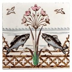 Arts & Crafts Minton Pottery Kingfisher Tile Designed by Christopher Dresser