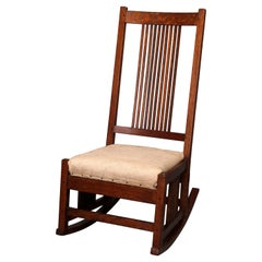 Arts & Crafts Mission Oak Gustav Stickley Spindle Back Slip Seat Rocker