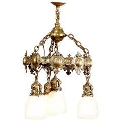 Arts & Crafts Mission Bronze Chandelier W. Steuben Calcite Glass Shades