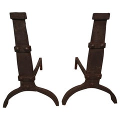 Arts & Crafts Mission Hand Forged Andirons