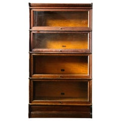 Arts & Crafts Mission Oak 4-Stack Barrister Bookcase by Hale's, NY, circa 1920