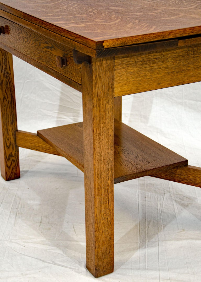 Arts & Crafts Mission Oak Library or Breakfast Table with Two Leaves, Two Chairs For Sale 6