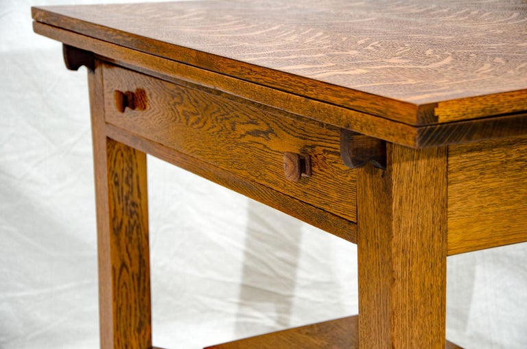 Arts & Crafts Mission Oak Library or Breakfast Table with Two Leaves, Two Chairs For Sale 8