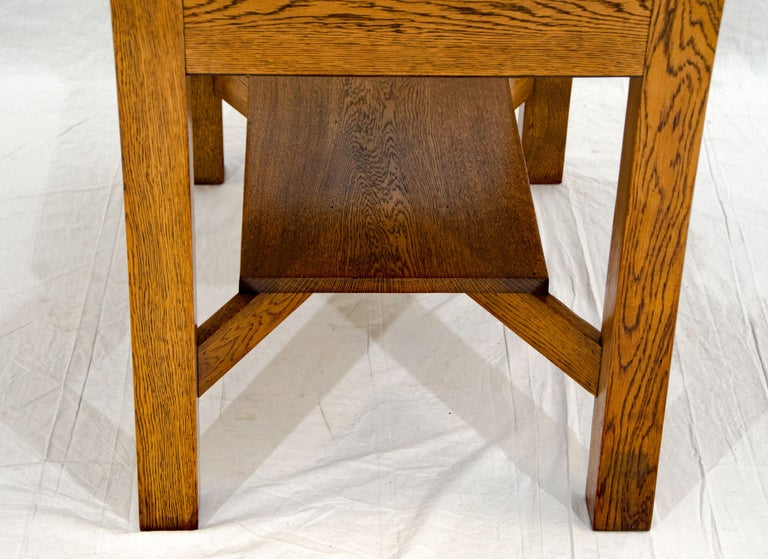 Arts & Crafts Mission Oak Library or Breakfast Table with Two Leaves, Two Chairs For Sale 3