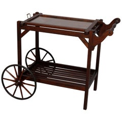 Arts & Crafts Mission Oak Stickley Bros School Tea Cart, Removable Tray