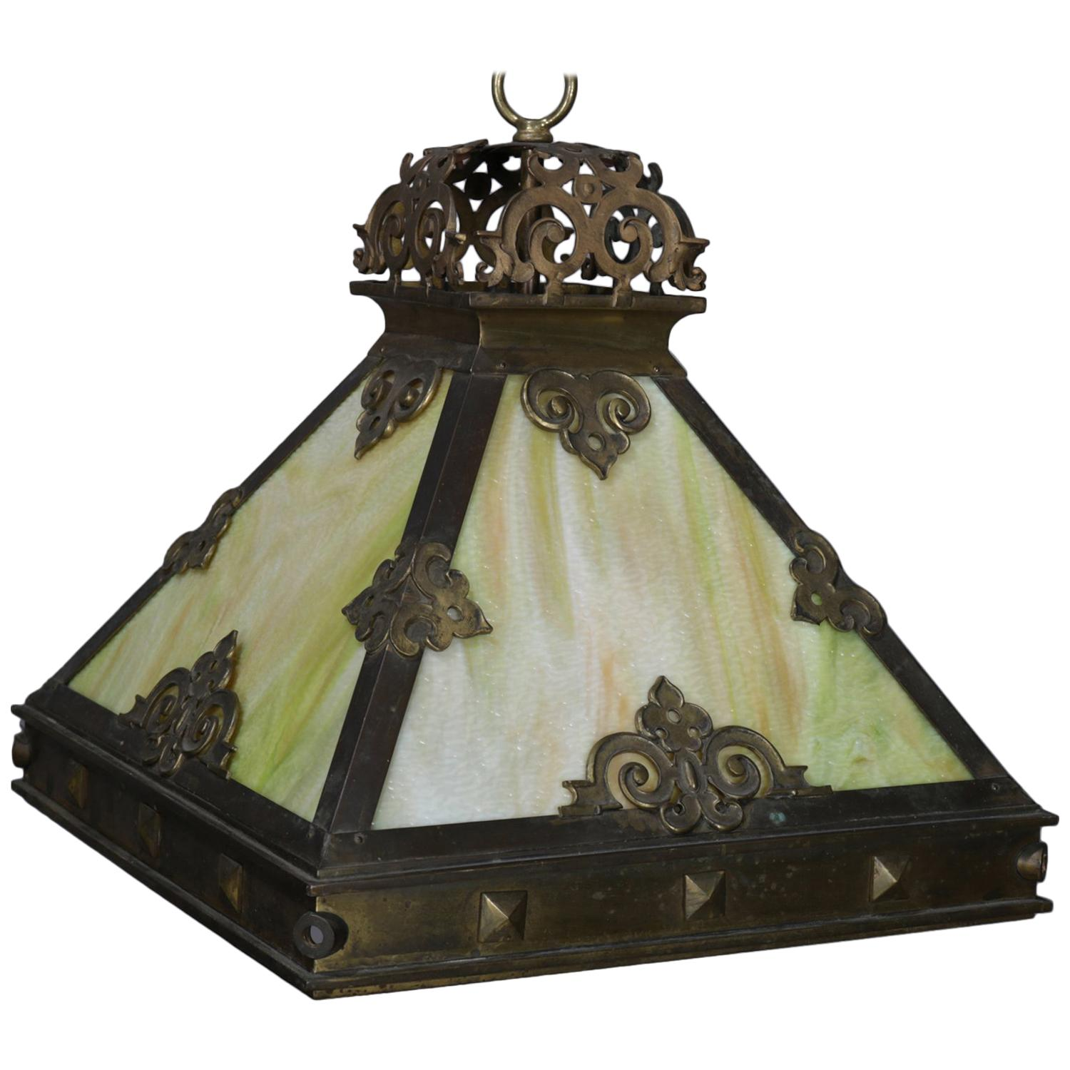 Arts crafts mission style 4 panel slag glass dome chandelier circa 1910