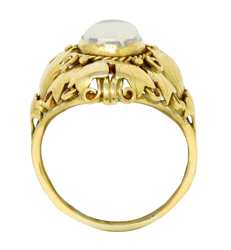 Arts & Crafts Moonstone 18 Karat Gold Layered Foliate Ring For Sale 1