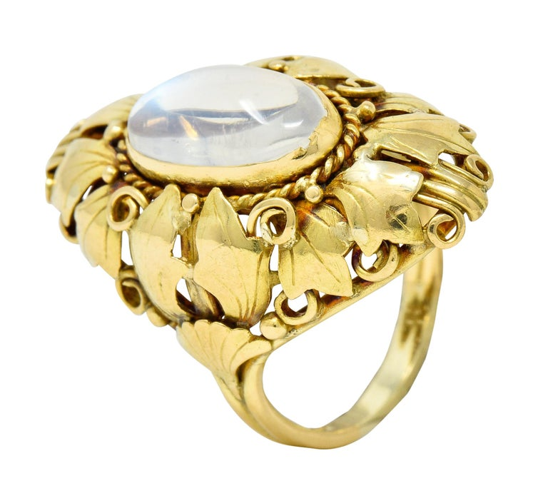 Arts & Crafts Moonstone 18 Karat Gold Layered Foliate Ring For Sale 2