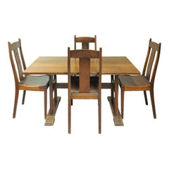 Arts & Crafts Movement Dining Set with Chairs by Arthur Simpson of Kendal