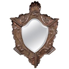 Arts & Crafts Movement Repousse Copper Mirror Attributed to Hayle