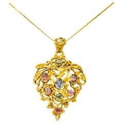 Arts & Crafts Multi-Gem Sapphire 14 Karat Gold Grape Cluster Pendant Necklace
