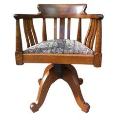 Arts & Crafts Oak Adjustable Height Swivel Office Chair, Industrial Mechanisms