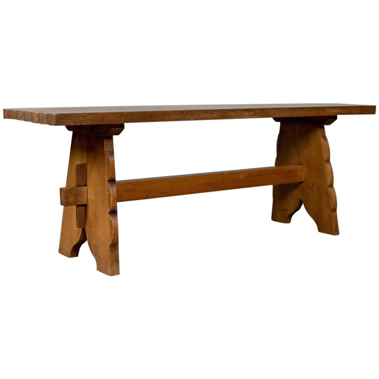 Good Bench Form: Arts And Crafts Oak Bench, English, Early 20th Century