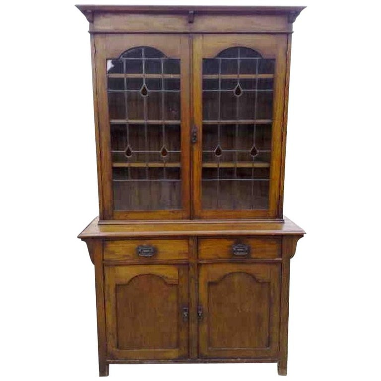 Arts & Crafts Oak Bookcase with Teardrop Stain Glass, Drawers and Lower Cupboard For Sale