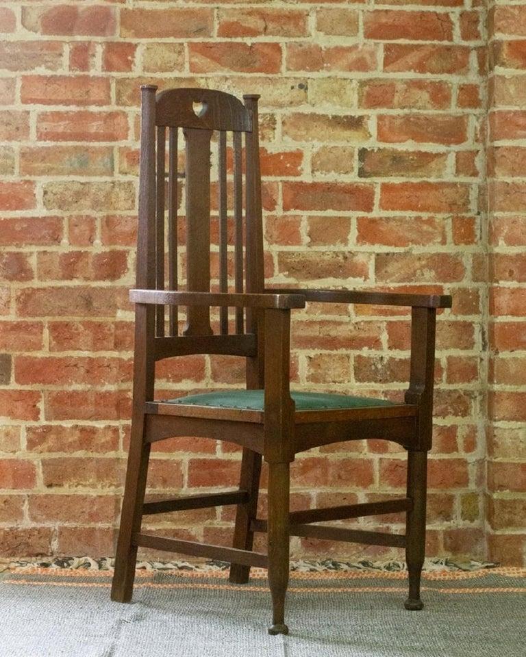 European Arts & Crafts Oak Chair, c.1910 For Sale