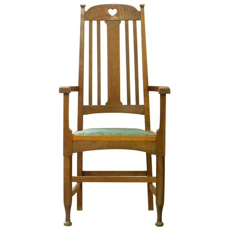 Arts & Crafts Oak Chair, c.1910 For Sale
