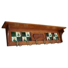Arts & Crafts Oak Coat Rack with Majolica Glazed Lily Flower Tiles & Brass Hooks
