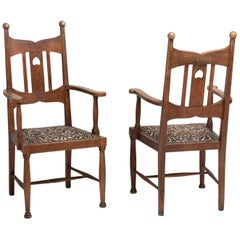 Arts & Crafts Oak Dining Chairs, England, circa 1900