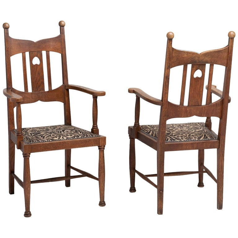 Arts & Crafts Oak Dining Chairs, England, circa 1900 For Sale