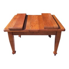 Arts & Crafts Oak Extending Dining Table with a Sliding Top
