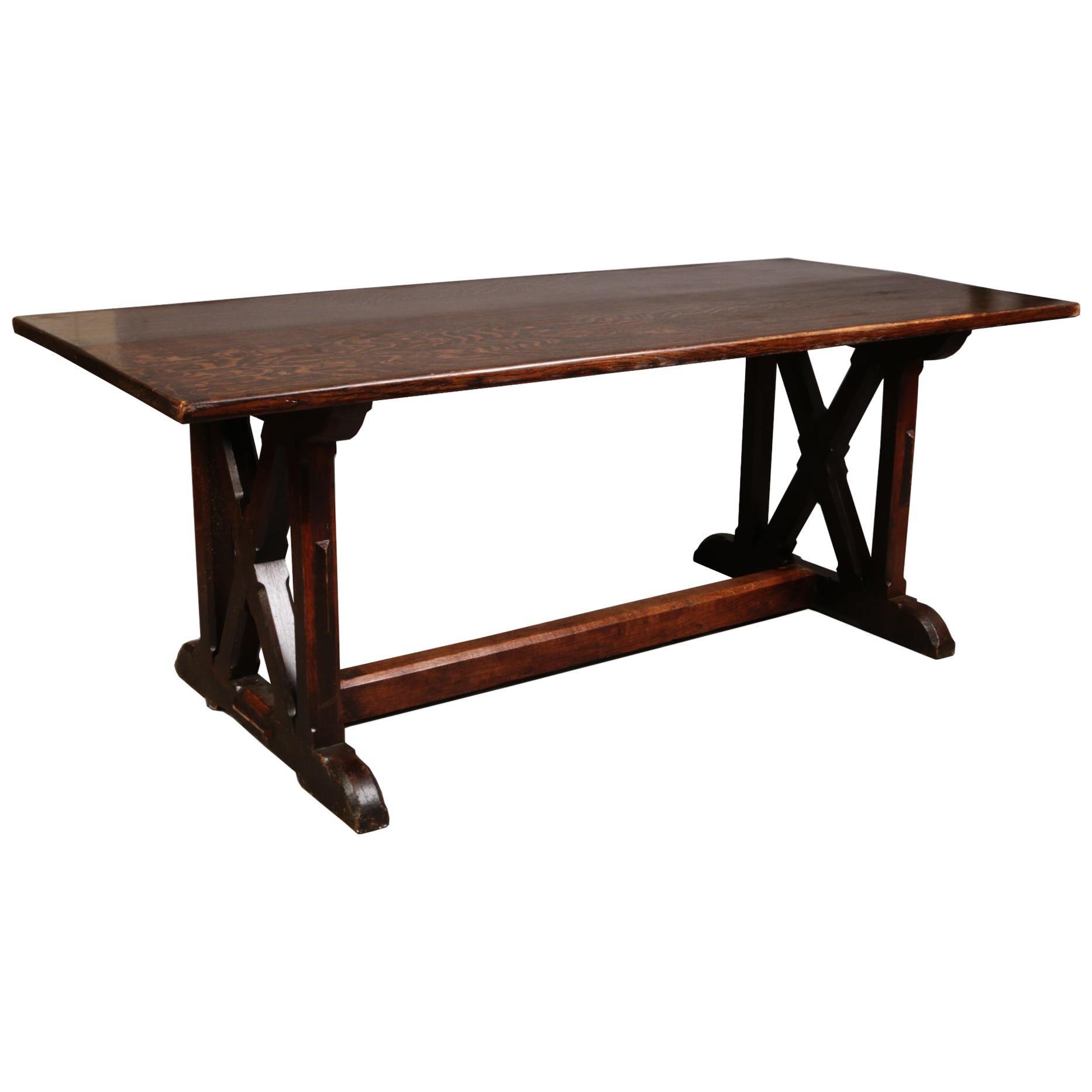 Arts & Crafts Oak Refectory Dining Table with Wonderful Figuring to the Grain