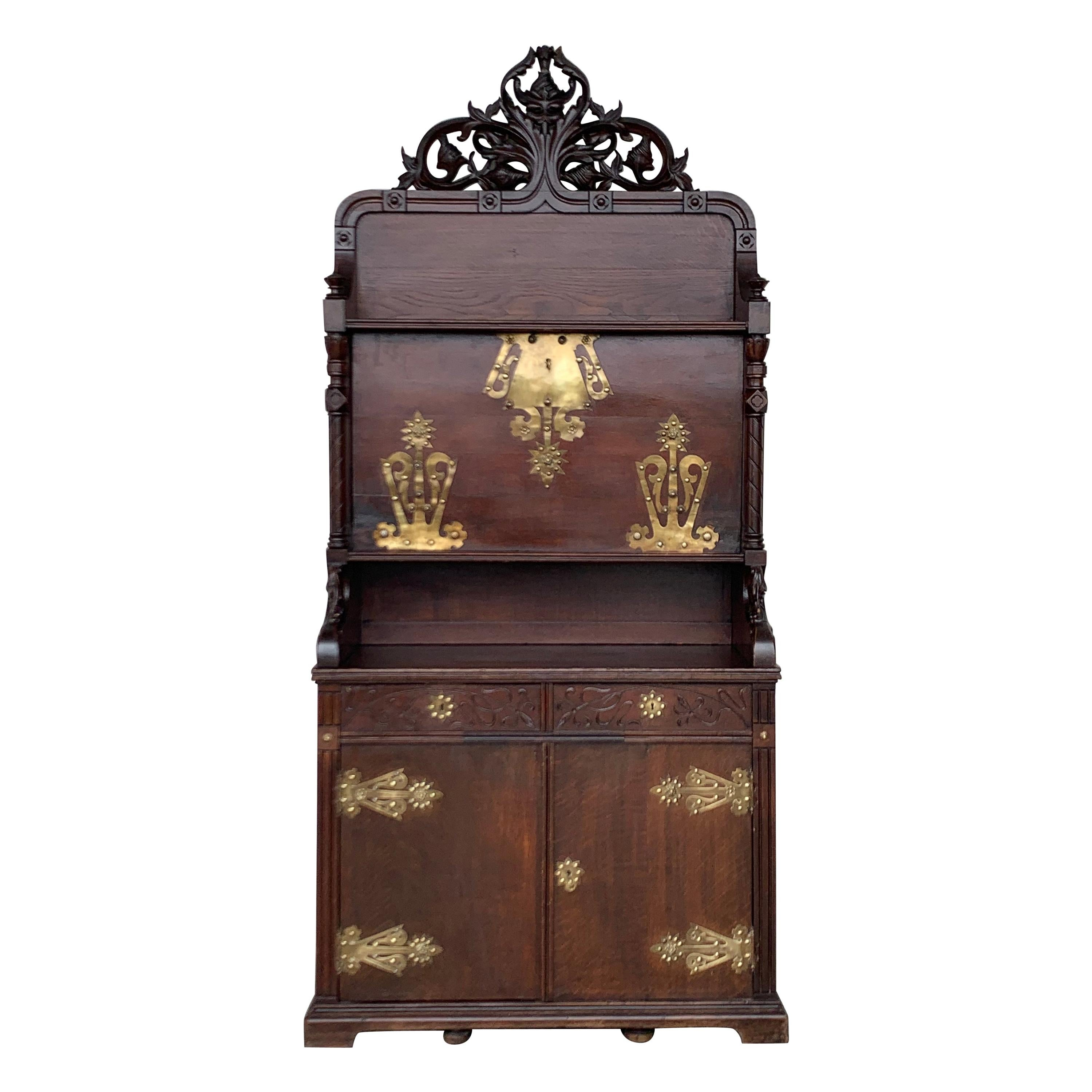 Arts & Crafts Oak Sideboard with Dry Bar Top and Cupboard in Oak, Bronze & Brass