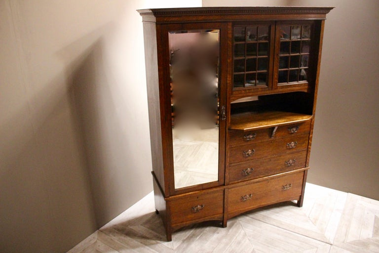 English Arts & Crafts Oak Wardrobe Purchased from Liberty & Co. London For Sale