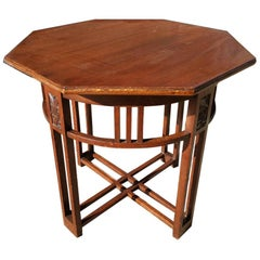 Arts & Crafts Octagonal Oak Centre or Side Table with Stylized Floral Carving