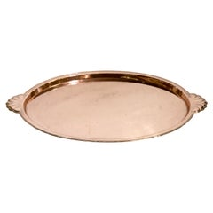 Arts & Crafts Oval Copper Tray with Planished Surface and Scallop Edge Handles
