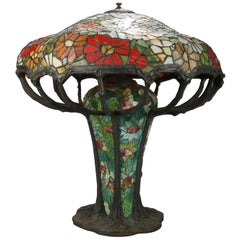 Arts & Crafts Oversized Tiffany School Leaded Mosaic Glass Table Lamp, 20th C
