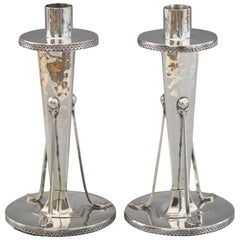 Arts & Crafts Pair of Silver Plated Hand Hammered Copper Candlesticks