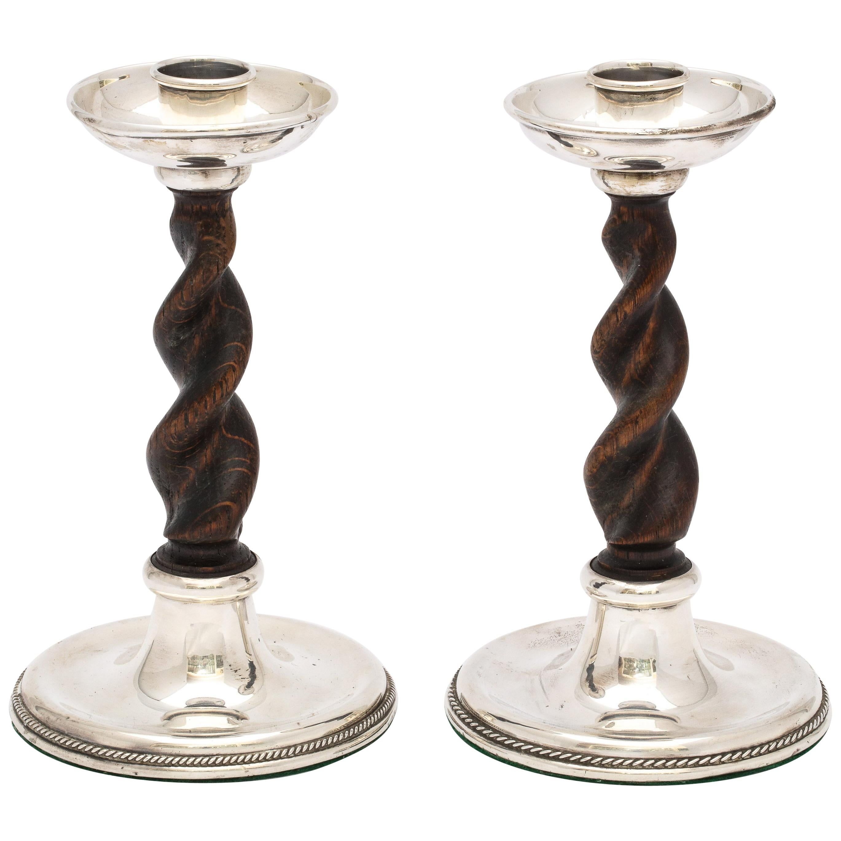 Arts & Crafts Pair of Sterling Silver-Mounted Wood Barley Twist Candlesticks