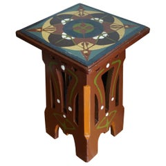 Arts & Crafts Pedestal Table with Hand Sawn & Hand Painted Organic Patterns