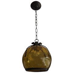 Arts & Crafts Pendant with Handcrafted Brass Frame & Amber Color Craquelé Glass