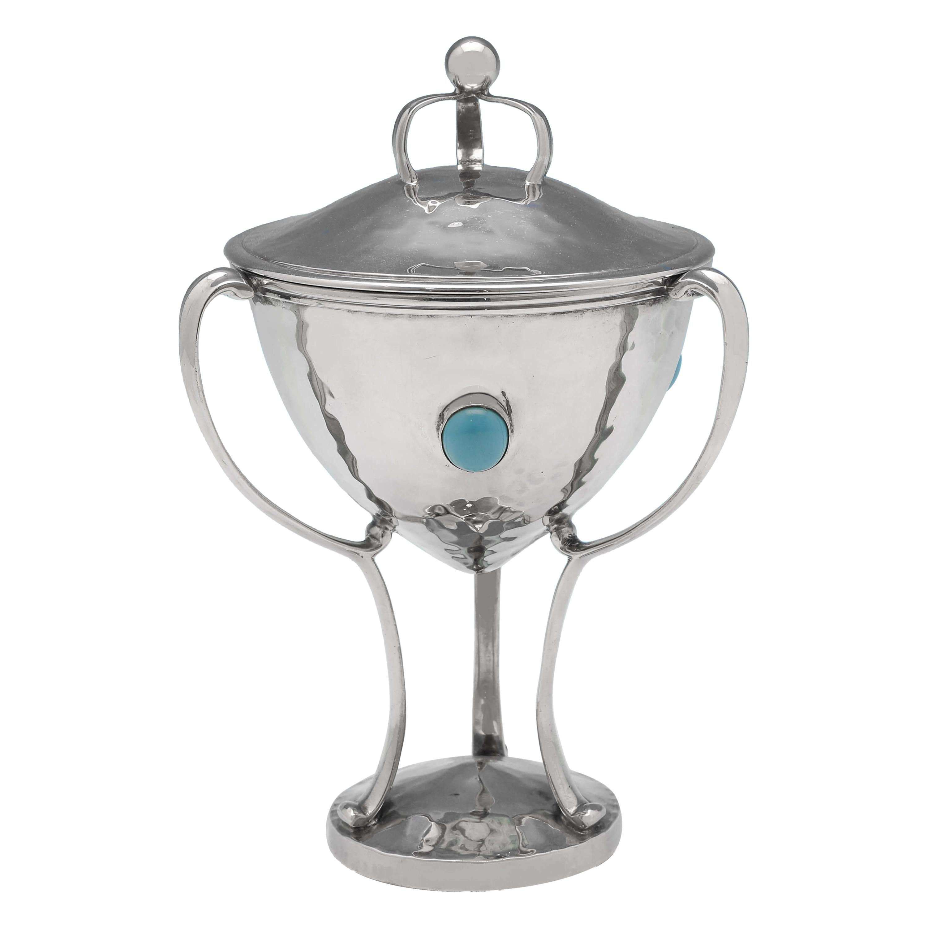 Arts & Crafts Period Antique Turquoise & Sterling Silver Cup & Cover London 1909