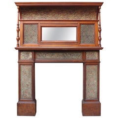 Arts & Crafts Period Oak Fire Surround With Mirrored Over Mantel