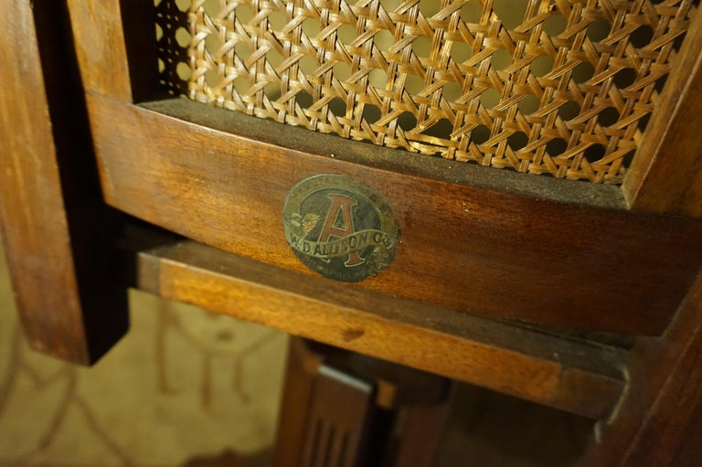 Carved Arts & Crafts Physician's Mahogany Swivel Chair with Original Cane and Leather For Sale