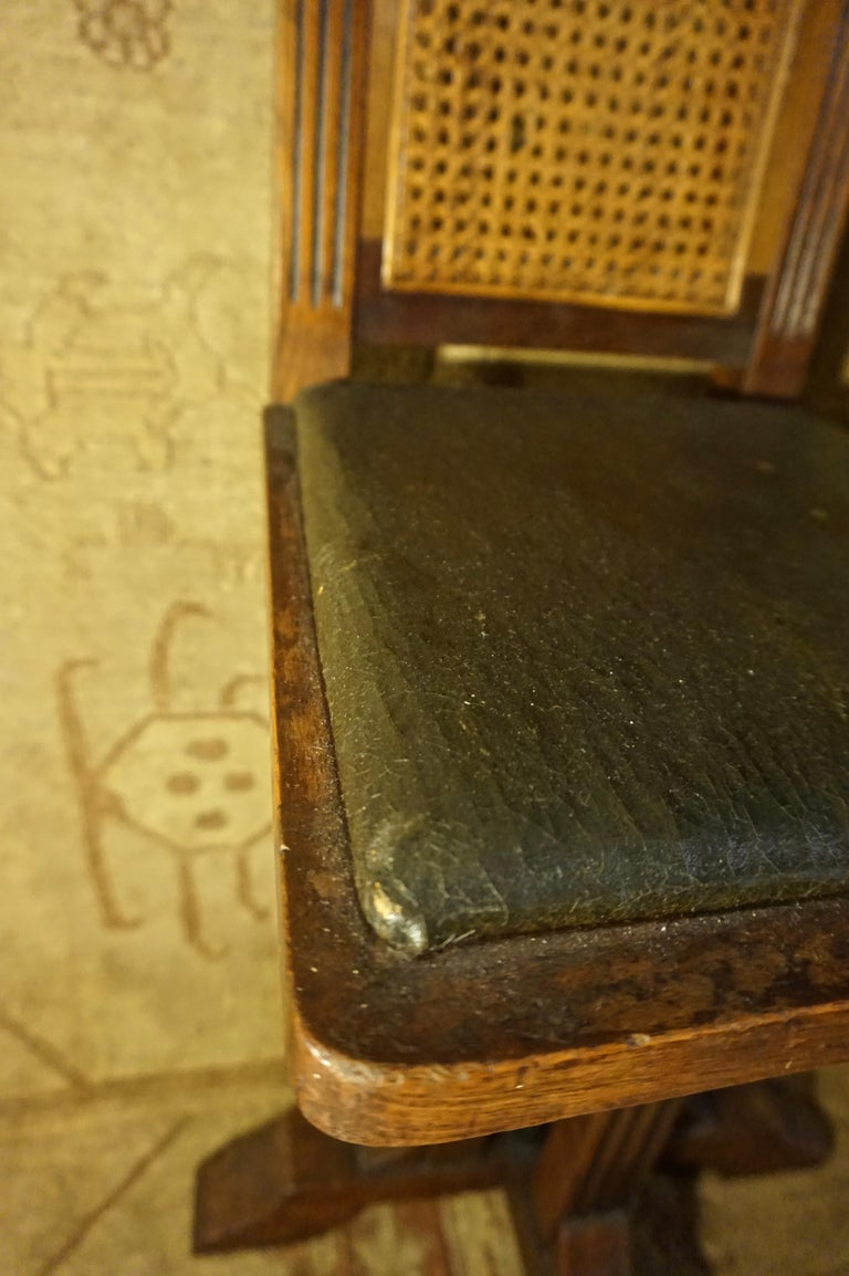 Arts & Crafts Physician's Mahogany Swivel Chair with Original Cane and Leather For Sale 1