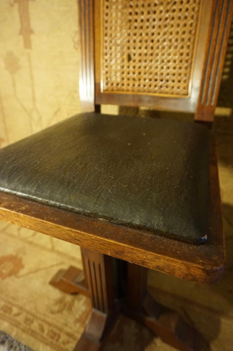 Arts & Crafts Physician's Mahogany Swivel Chair with Original Cane and Leather For Sale 2