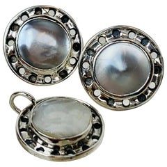 Period Arts & Crafts Pierced Earrings & Pendant Set-Sterling & Mabé Pearl