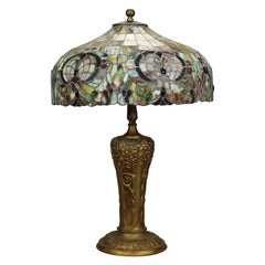 Arts & Crafts Pittsburgh Lamp Base with Mosaic Leaded Glass Shade, c 1910