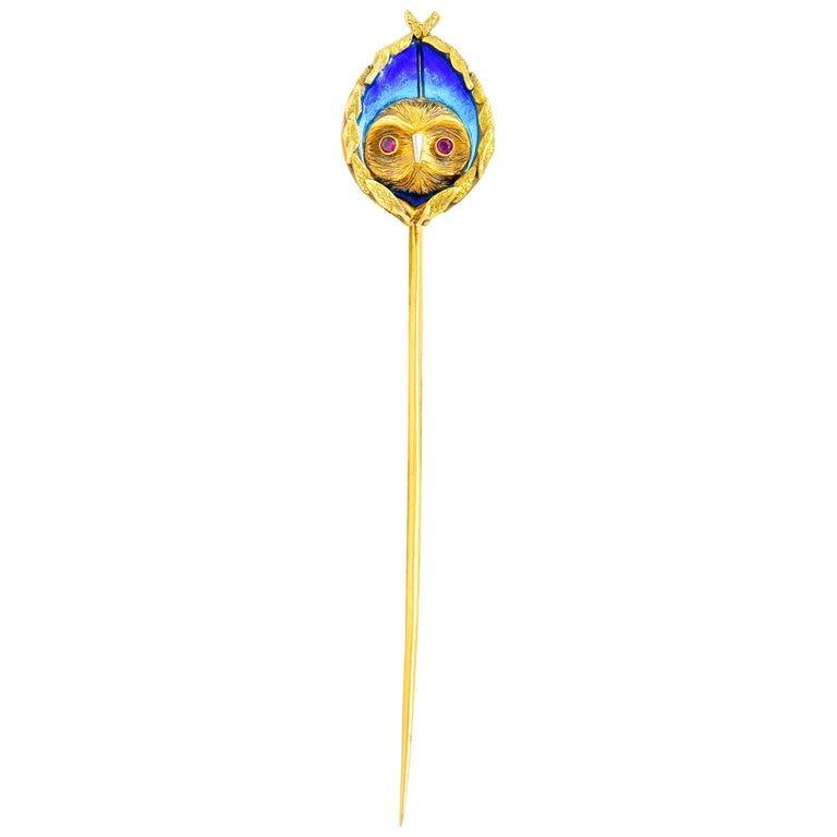Arts & Crafts Plique-à-Jour Enamel Ruby 18 Karat Gold Foliate Owl Stickpin