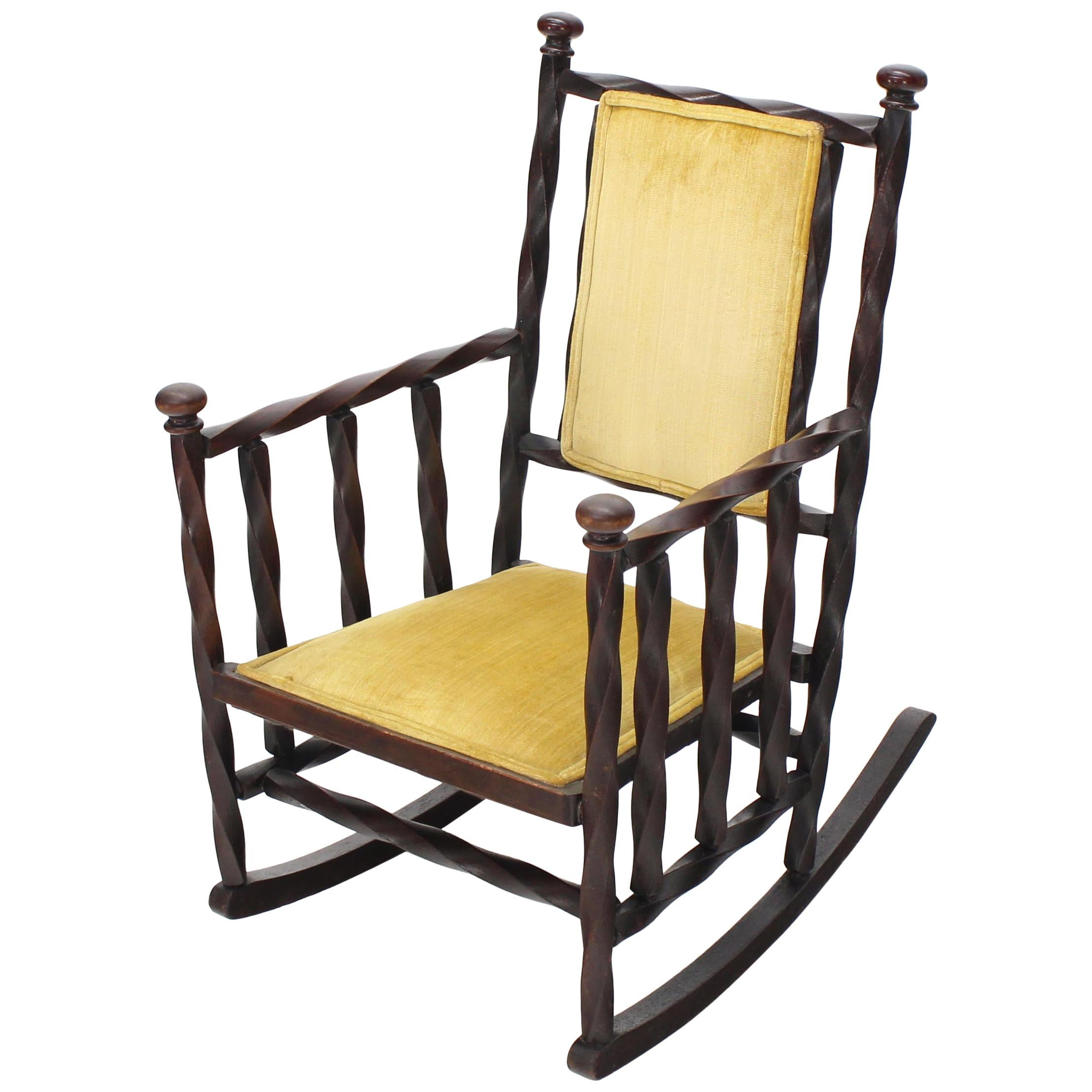 """Arts & Crafts Rocking Chair of """"Twisted"""" Wood Frame"""
