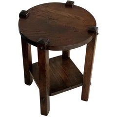 Arts & Crafts Round Top Two Tiered Oak Cocktail Table, American, 1920s