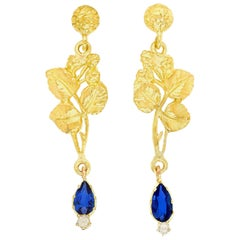Arts & Crafts Sapphire and Diamond-Set Gold Earrings