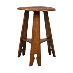 Arts & Crafts Side Table, Carved Oak, circa 1890