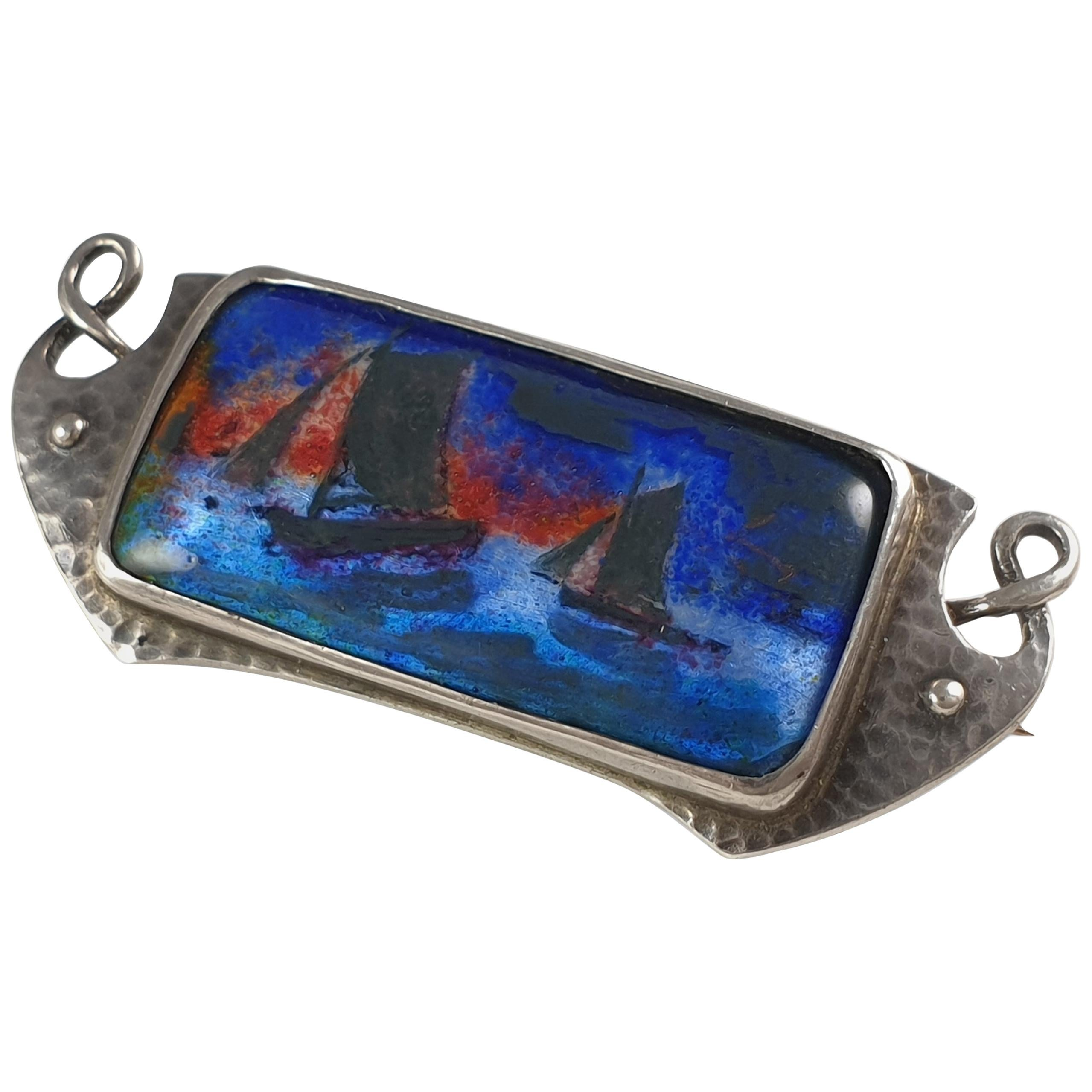 Arts & Crafts Silver and Enamel Plaque Brooch, Murrle Bennett & Co., circa 1910