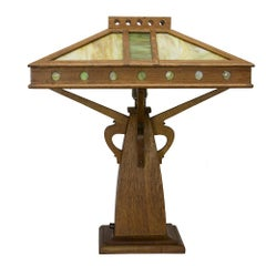 Arts & Crafts Slag Glass Lamp